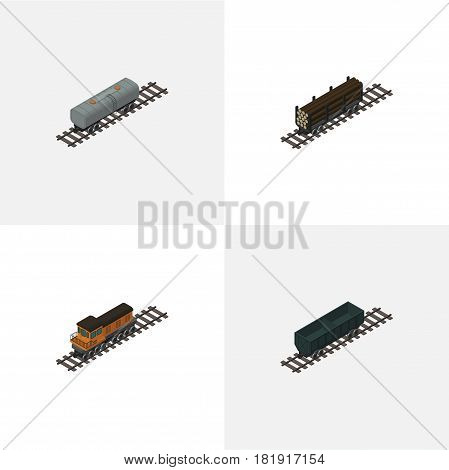 Isometric Railway Set Of Oil Wagon, Lumber Shipping, Train And Other Vector Objects. Also Includes Locomotive, Railway, Petroleum Elements.