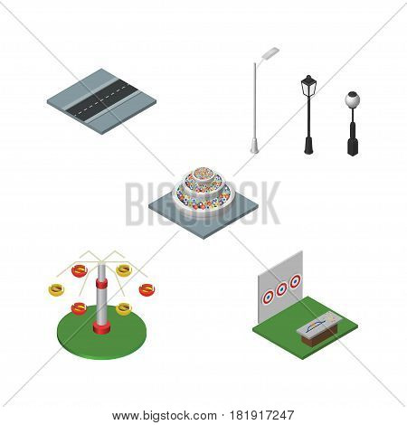 Isometric City Set Of Path, Plants, Aiming Game And Other Vector Objects. Also Includes City, Aiming, Swing Elements.