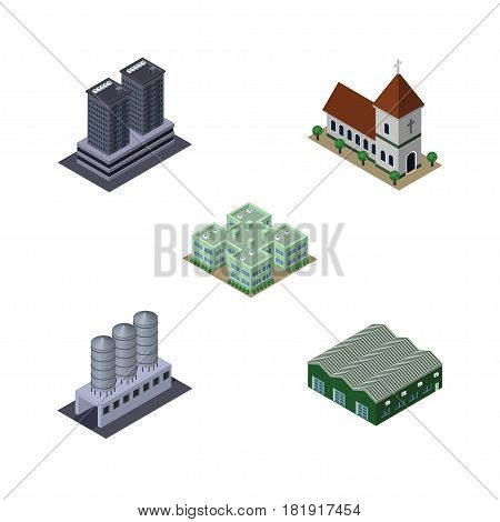 Isometric Urban Set Of Water Storage, Warehouse, Chapel And Other Vector Objects. Also Includes Church, Storage, Chapel Elements.