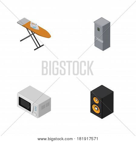 Isometric Technology Set Of Music Box, Microwave, Cloth Iron And Other Vector Objects. Also Includes Fridge, Microwave, Music Elements.