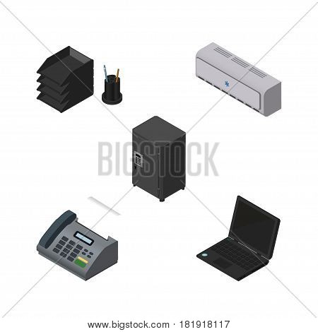 Isometric Office Set Of Desk File Rack, Laptop, Office Phone And Other Vector Objects. Also Includes Air, Telephone, Rack Elements.
