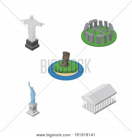 Isometric Architecture Set Of Rio, Chile, New York And Other Vector Objects. Also Includes Liberty, Historic, Athens Elements.