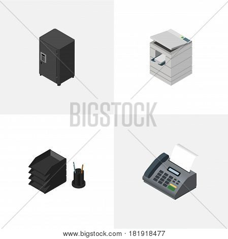 Isometric Work Set Of Scanner, Office Phone, Strongbox And Other Vector Objects. Also Includes Telephone, File, Tray Elements.