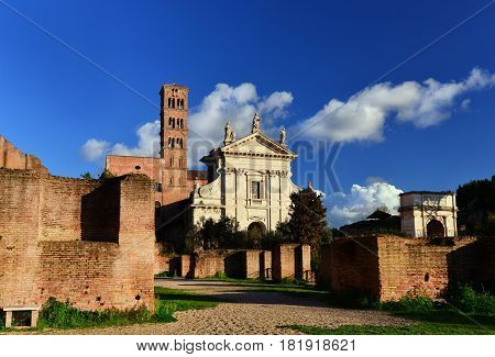 Saint Frances of Rome basilica and the Arch of Titus in Roman Forum