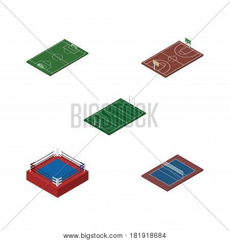 Isometric Competition Set Of Tennis, Soccer, American Football And Other Vector Objects. Also Includes Football, Playground, Boxing Elements.