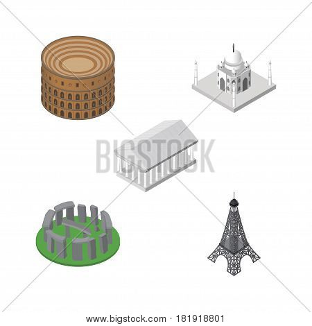 Isometric Attraction Set Of Coliseum, India Mosque, Athens And Other Vector Objects. Also Includes Colosseum, Museum, Acropolis Elements.