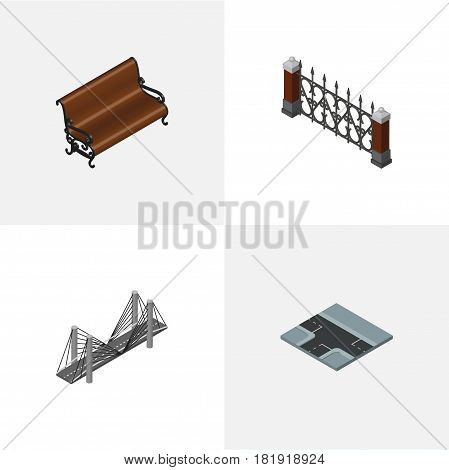 Isometric Architecture Set Of Sitting, Bridge, Crossroad And Other Vector Objects. Also Includes Way, Hedge, Seat Elements.