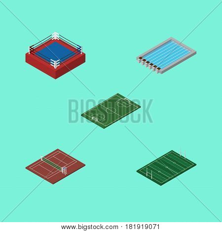 Isometric Competition Set Of Volleyball, Soccer, Fighting And Other Vector Objects. Also Includes Volleyball, Basin, Tennis Elements.