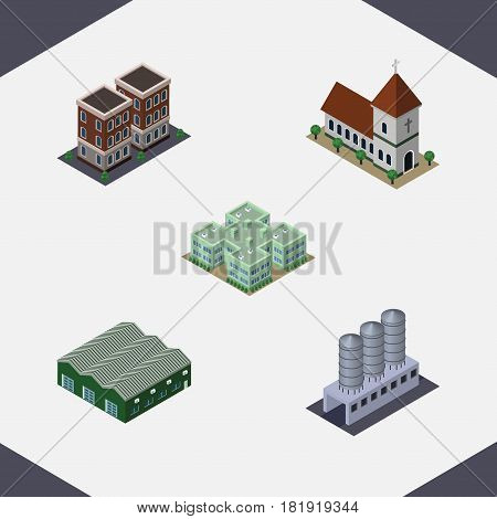 Isometric Building Set Of Chapel, Warehouse, Water Storage And Other Vector Objects. Also Includes Warehouse, Clinic, Chapel Elements.