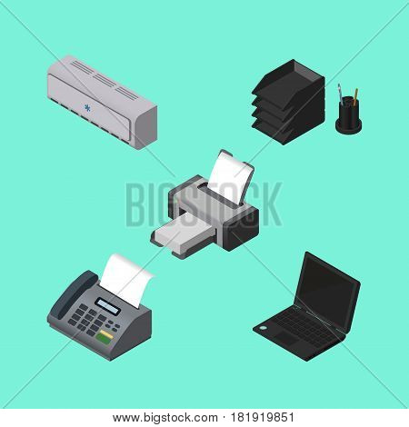 Isometric Business Set Of Wall Cooler, Desk File Rack, Printing Machine And Other Vector Objects. Also Includes Notebook, Computer, Rack Elements.
