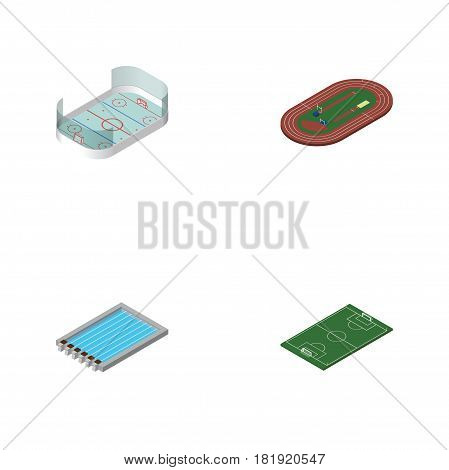 Isometric Training Set Of Ice Games, Run Stadium, Basin And Other Vector Objects. Also Includes Hockey, Playground, Ice Elements.