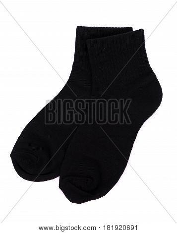 Close Up black sock isolated on white background
