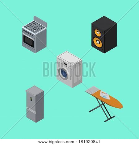 Isometric Device Set Of Stove, Music Box, Cloth Iron And Other Vector Objects. Also Includes Cooker, Music, Laundry Elements.