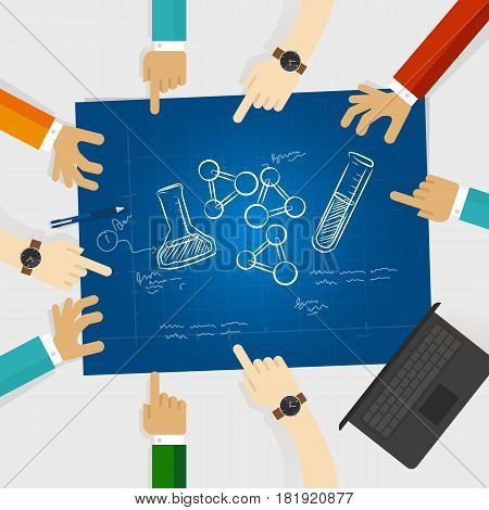 chemistry study element scribble doodle science hand drawing research collaboration in laboratory working together vector