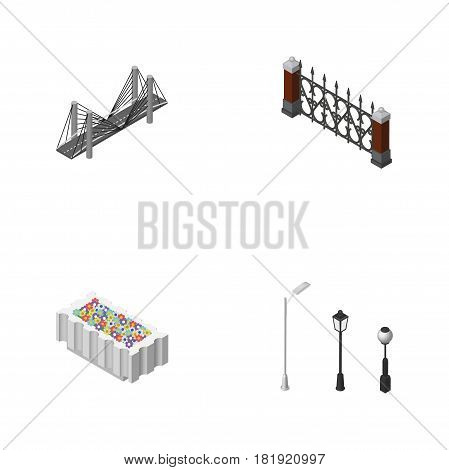 Isometric City Set Of Fence, Flower Decoration, Bridge And Other Vector Objects. Also Includes Bridge, Flower, Plants Elements.