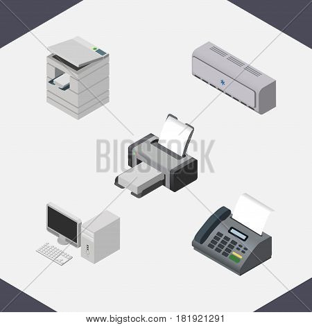 Isometric Business Set Of Printing Machine, Computer, Wall Cooler And Other Vector Objects. Also Includes Printing, Fax, Telefax Elements.