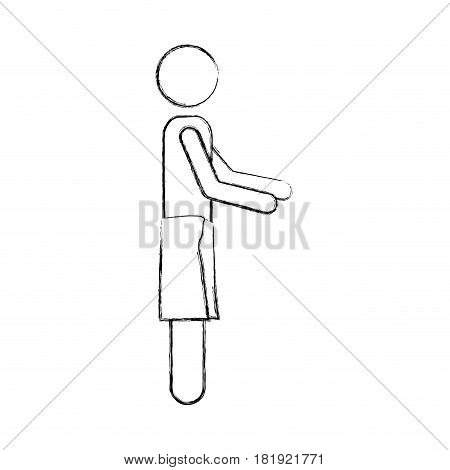blurred silhouette pictogram of man with towel in waist in side view with extended arms vector illustration