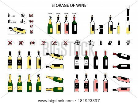 Wine storage icons set in flat style. Storage conditions before and after opening. Vector illustration