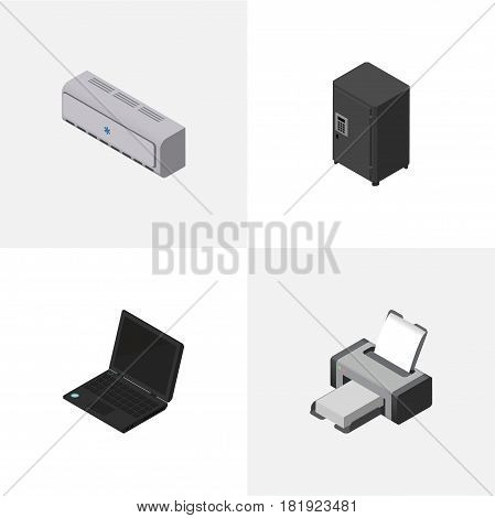 Isometric Work Set Of Strongbox, Printing Machine, Laptop And Other Vector Objects. Also Includes Machine, Printer, Cooler Elements.