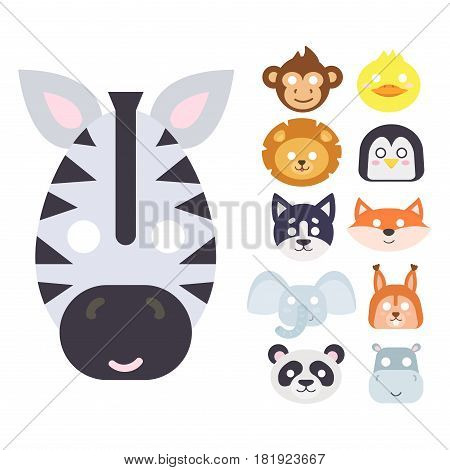 Animals carnival mask vector set festival decoration masquerade and party costume cute cartoon head decor isolated celebration vector illustration. Traditional fantasy drawing wild character.