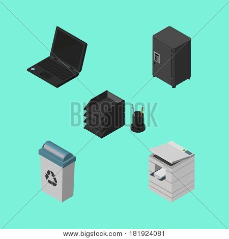 Isometric Office Set Of Strongbox, Garbage Container, Desk File Rack And Other Vector Objects. Also Includes Junk, Notebook, Scanner Elements.