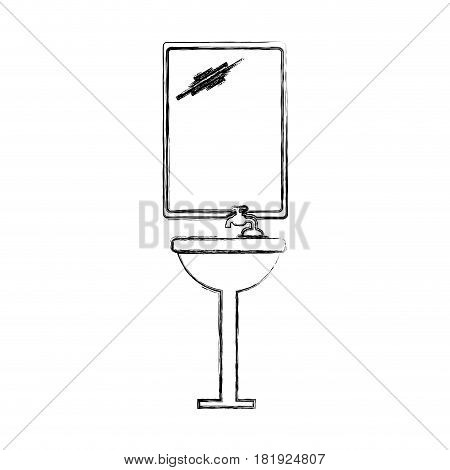 sketch silhouette of sink bathroom and mirror vector illustration