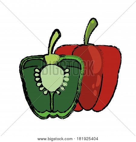 green and red pepper food diet healthy vector illsutration eps 10