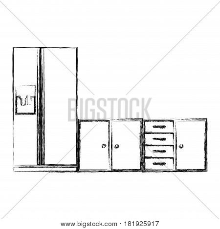 blurred silhouette of lower kitchen cabinets with fridge vector illustration