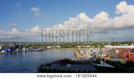 Barbados pier, Caribbean View of the Barbados waterfront