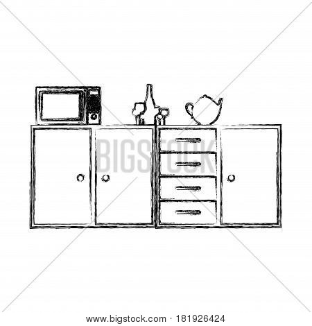 blurred silhouette of kitchen shelf and drawers and tea kettle and microwave vector illustration