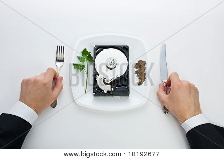 Hard Drive Is On A Plate