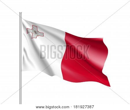 National flag of Malta republic. Patriotic sign in official country colors: white and red. Symbol of Sounhern European state. Vector icon illustration