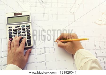 Close Up Architect Working On Blueprint. Architects Workplace , Architectural  Working Of Architect