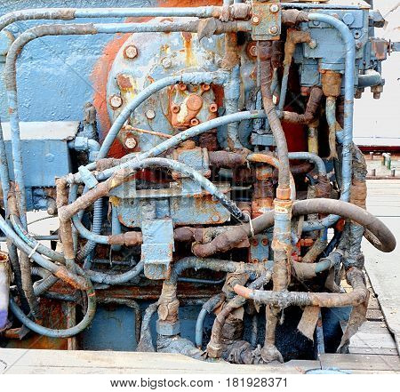 Vintage Old Diesel Engine On A Ship