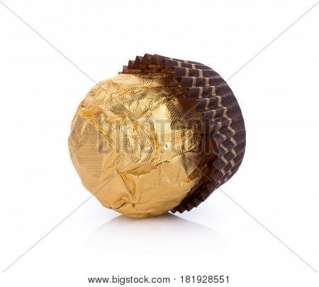 Close Up Chocolate balls on white background. food