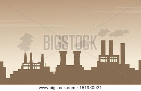 Bad environment with pollution fron industry vector art