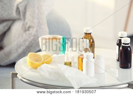 Medicines for cold on table indoors