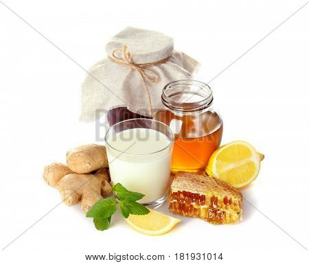 Natural ingredients for cough remedy on white background