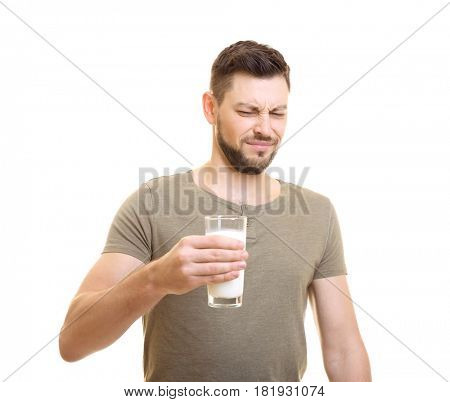 Man with milk allergy on white background