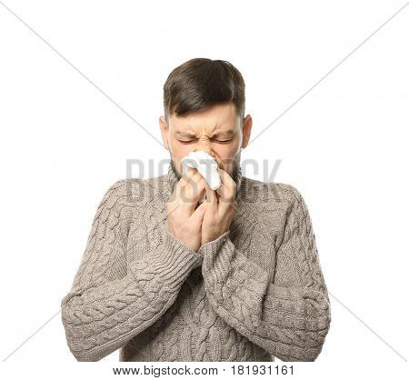 Young ill man on white background