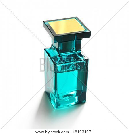 Bottle of modern male perfume on white background