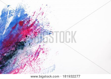 Creative modern space art, abstract galaxy, creativity, inspiration. Bright mix of sparkling black, red and blue colors on white background with free space.