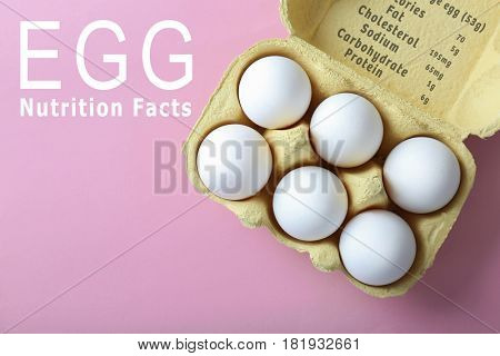 Raw eggs in package and list of nutrition facts on color background