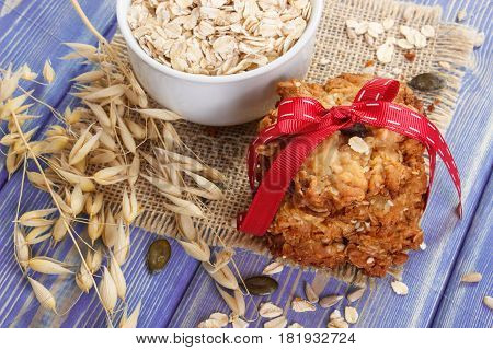 Oatmeal Cookies With Ingredients And Ears Of Oat, Healthy Dessert Concept