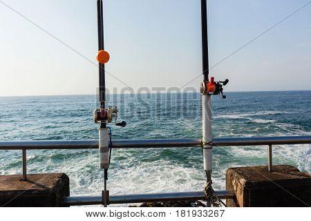 Fishing Rods Ocean Pier Jetty