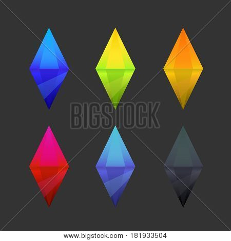 Set of cartoon different color crystals gemstones gems diamonds vector gui assets collection for game design.isolated vector elements. Gui elements vector games assets. menu for mobile games