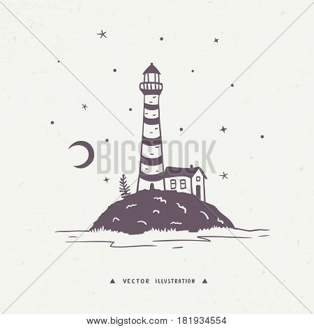Beautiful hand drawn silhouette with view island with lighthouse and home. Vector illustration, sketch.