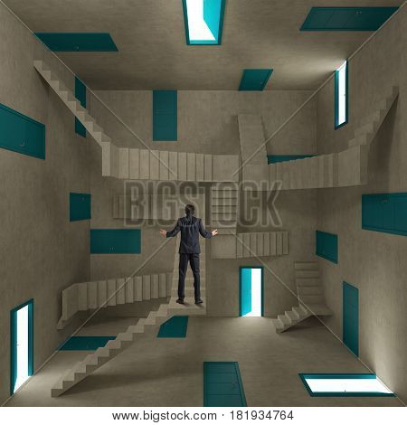 Concept of confusion and complexity with a businessman in a room full of doors and stairs