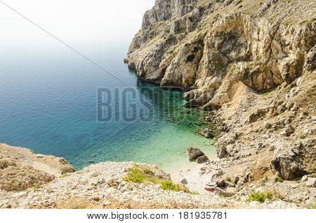 scenic seascape of a beach in dalmatia cres island croatia