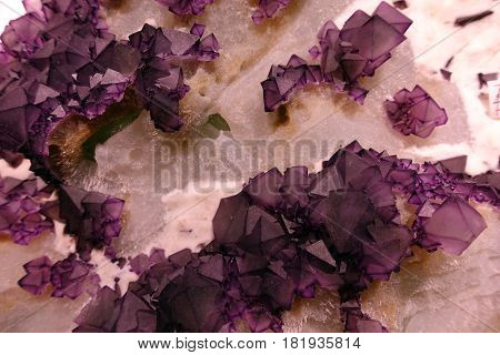 Pink amethyst crystals and other crystals - detail.